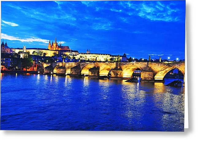 Czech Pyrography Greeting Cards - Charles Bridge and Castle Prague Greeting Card by Steffen Schumann