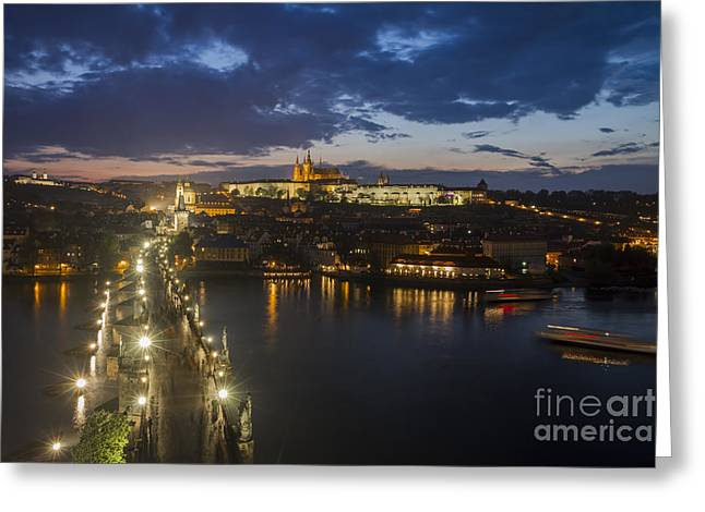 Czechia Greeting Cards - Charles Bridge and Prague Castle after thunderstorm at night Greeting Card by Bart De Rijk