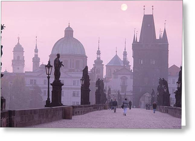 Sculpture Art Greeting Cards - Charles Bridge And Spires Of Old Town Greeting Card by Panoramic Images