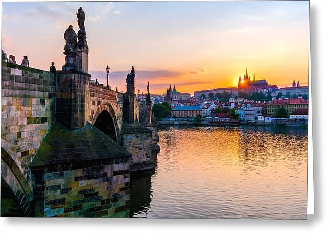 Prague Castle Greeting Cards - Charles Bridge and St. Vitus Cathedral in Prague Greeting Card by Jim Hughes