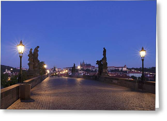 Royal Palace Greeting Cards - Charles Bridge At Dusk With Castle Greeting Card by Panoramic Images