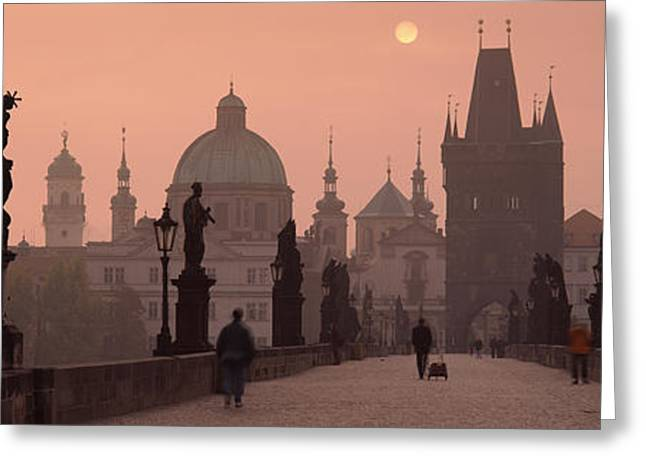 Famous Bridge Greeting Cards - Charles Bridge At Dusk With The Church Greeting Card by Panoramic Images