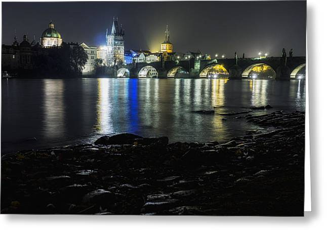 Famous Bridge Greeting Cards - Charles Bridge at Night from Kampa Greeting Card by Andrew Proudlove
