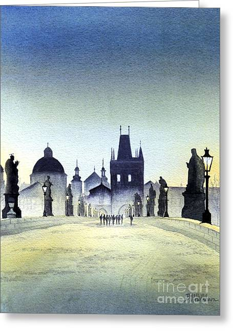 Charles Bridge Paintings Greeting Cards - Charles Bridge Greeting Card by Bill Holkham