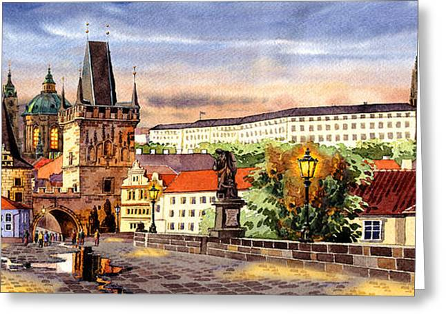 Kafka Digital Art Greeting Cards - Charles bridge Castle Vita Greeting Card by Dmitry Koptevskiy