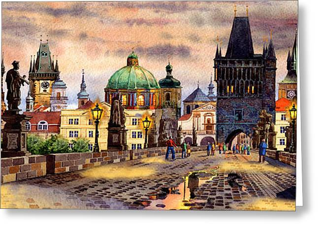 Praha Digital Art Greeting Cards - Charles Bridge Greeting Card by Dmitry Koptevskiy