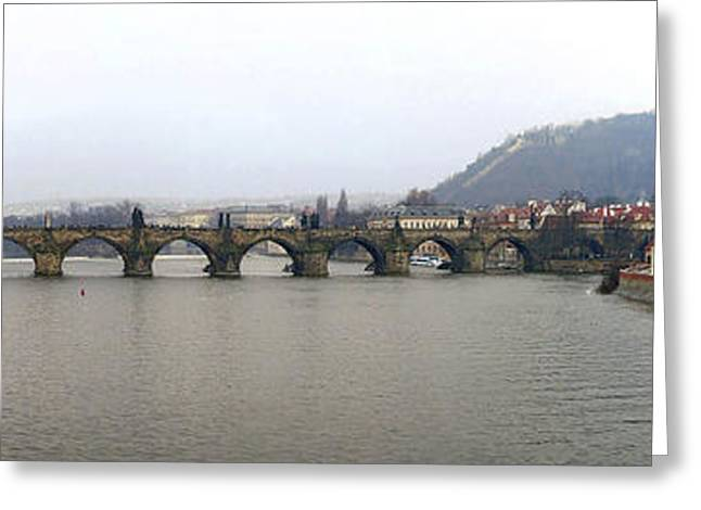 Historic Statue Greeting Cards - Charles Bridge Greeting Card by Gary Lobdell