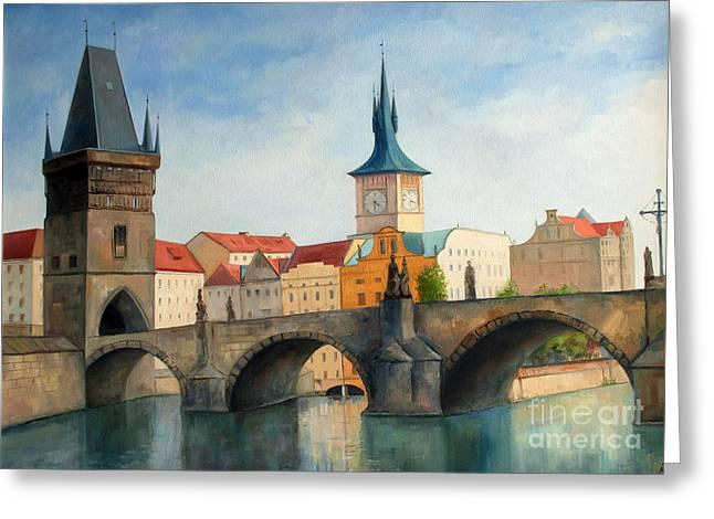 Prague Paintings Greeting Cards - Charles bridge Greeting Card by Igal Kogan