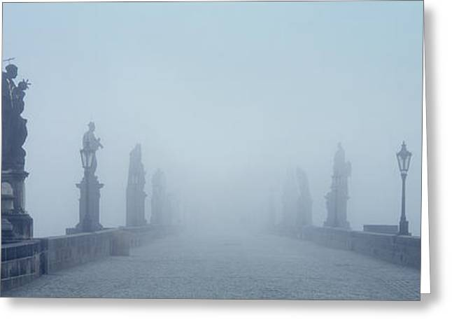 Misty Bridge Greeting Cards - Charles Bridge In Fog Prague Czech Greeting Card by Panoramic Images