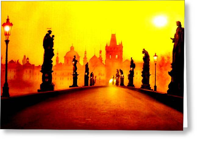 Prague Paintings Greeting Cards - Charles Bridge in Prague Greeting Card by The Creative Minds Art and Photography