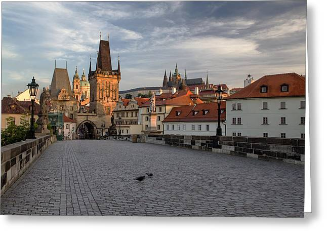 Medieval Temple Greeting Cards - Charles Bridge in the early morning  Greeting Card by Jaroslav Frank