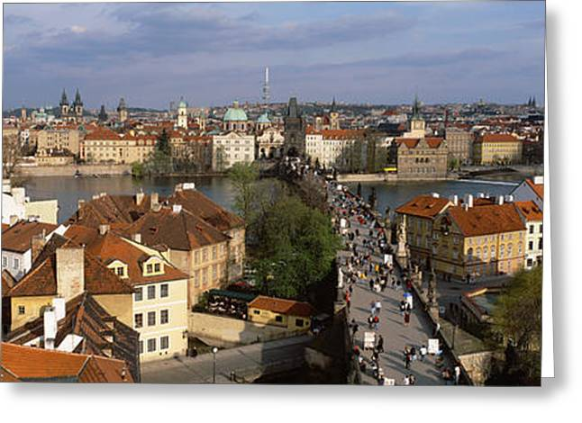 Grey Clouds Greeting Cards - Charles Bridge Moldau River Prague Greeting Card by Panoramic Images