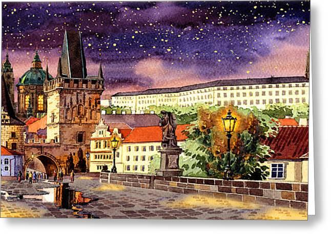 Praha Digital Art Greeting Cards - Charles bridge night  Greeting Card by Dmitry Koptevskiy