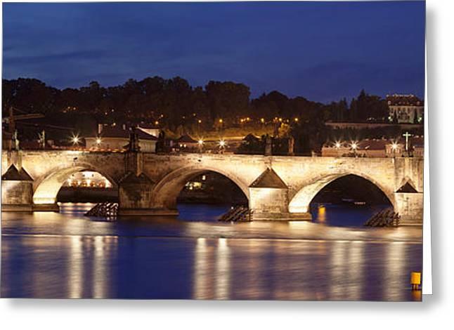 Bohemia Greeting Cards - Charles Bridge Over Vitava River Greeting Card by Panoramic Images