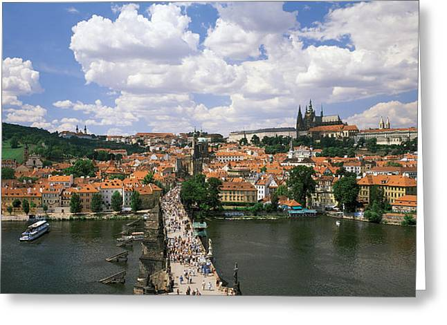 Boat Greeting Cards - Charles Bridge Prague Czech Republic Greeting Card by Panoramic Images