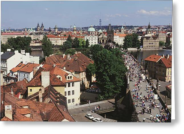 Grey Clouds Greeting Cards - Charles Bridge Prague Czechoslovakia Greeting Card by Panoramic Images