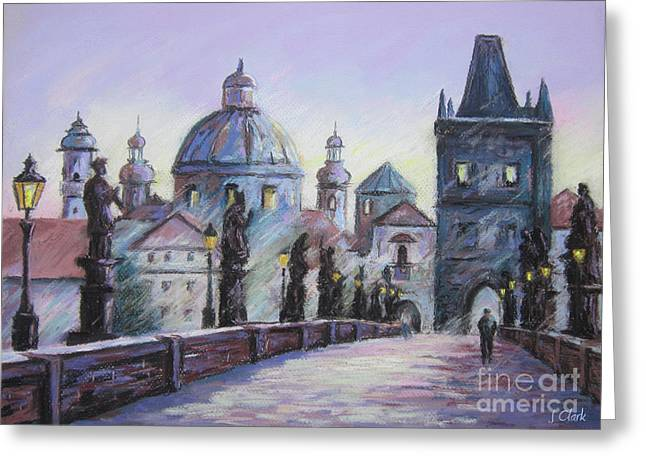 Wall Pastels Greeting Cards - Charles Bridge  Prague Greeting Card by John Clark