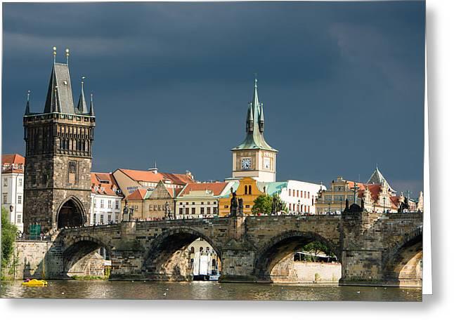 Charles Bridge Prague Greeting Card by Matthias Hauser