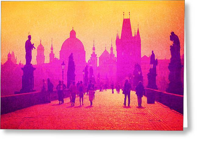 Charles Bridge Mixed Media Greeting Cards - Charles Bridge Prague Greeting Card by Michelle Dallocchio