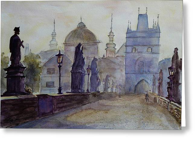 Prague Paintings Greeting Cards - Charles Bridge Prague Greeting Card by Xueling Zou