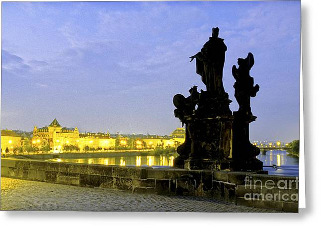 River Sculptures Greeting Cards - Charles Bridge Statue Greeting Card by Ryan Fox