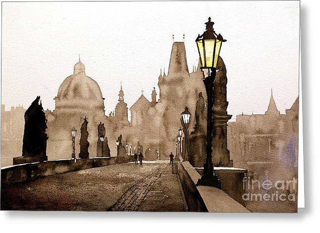 Charles Bridge Paintings Greeting Cards - Charles Bridge Toned Greeting Card by Ryan Fox