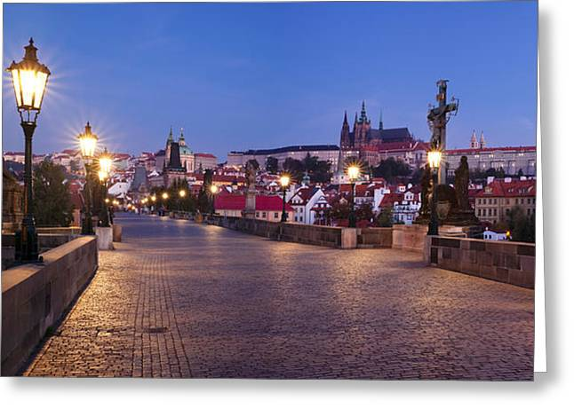 St Charles Bridge Greeting Cards - Charles Bridge With Castle District Greeting Card by Panoramic Images