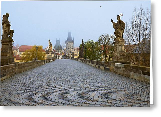 Czech Flag Greeting Cards - Charles Bridge Greeting Card by Yury Maselov