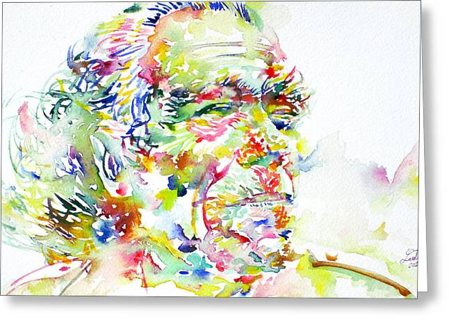 Bukowski Greeting Cards - Charles Bukowski Portrait.1 Greeting Card by Fabrizio Cassetta