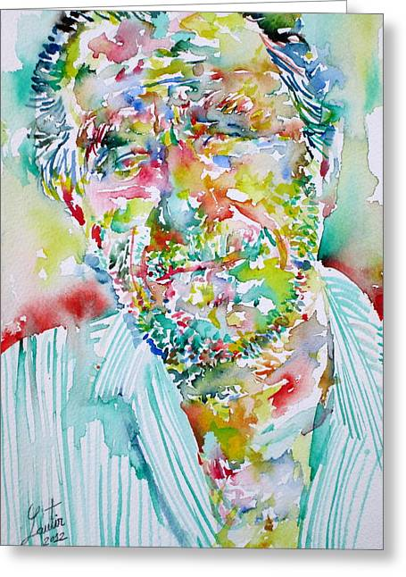 Bukowski Greeting Cards - Charles Bukowski Portrait.2 Greeting Card by Fabrizio Cassetta