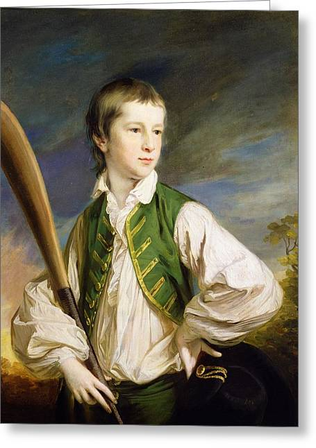 Hands On Hips Greeting Cards - Charles Collyer As A Boy, With A Cricket Bat, 1766 Oil On Canvas Greeting Card by Francis Cotes