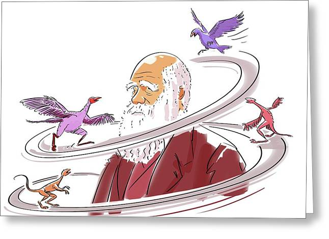 Charles Darwin Greeting Card by Harald Ritsch