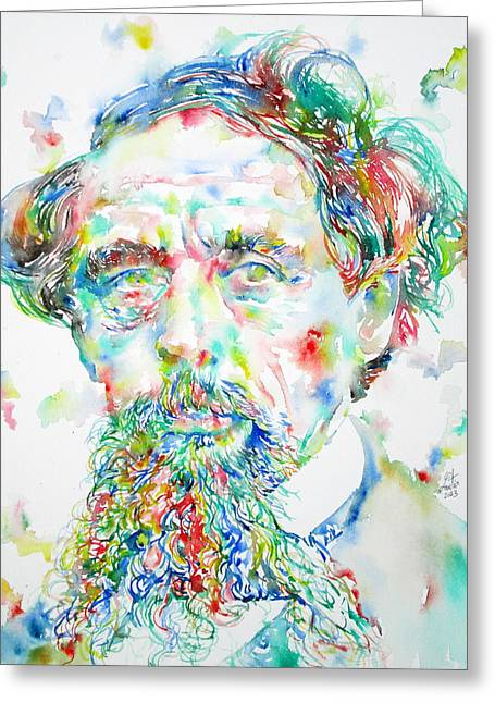 Charles Dickens Greeting Cards - CHARLES DICKENS watercolor portrait Greeting Card by Fabrizio Cassetta