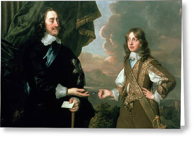British Royalty Greeting Cards - Charles I 1600-49 And James, Duke Of York 1633-1701, C.1647 Oil On Canvas See Also 122474 Greeting Card by Sir Peter Lely