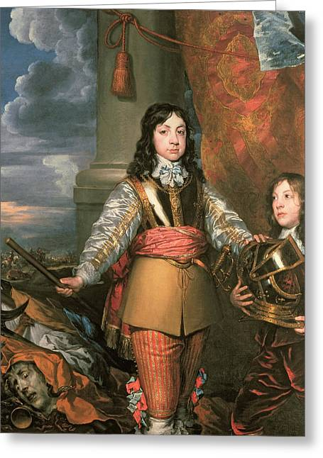 Full-length Portrait Photographs Greeting Cards - Charles Ii As Prince Of Wales With A Page, C.1642 Oil On Canvas Greeting Card by William Dobson