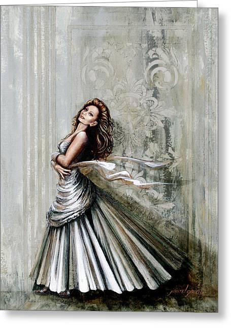Charles James Swan Gown Greeting Card by Joan Garcia