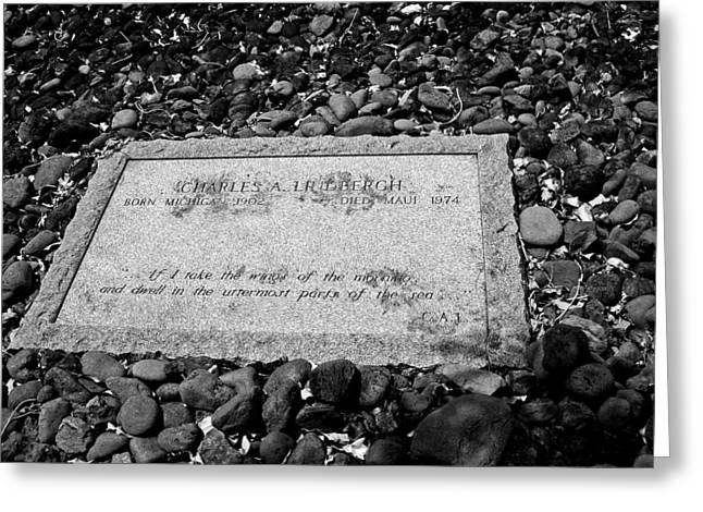 Paradise Road Greeting Cards - Charles Lindbergh Memorial Stone B W  Greeting Card by Connie Fox