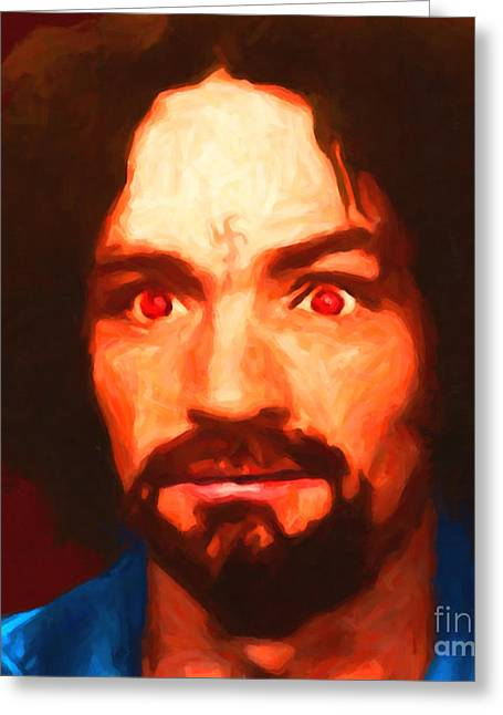 Mass Murder Greeting Cards - Charles Manson 20141213 square Greeting Card by Wingsdomain Art and Photography