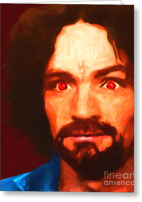 Mass Murder Greeting Cards - Charles Manson 20141213 Greeting Card by Wingsdomain Art and Photography