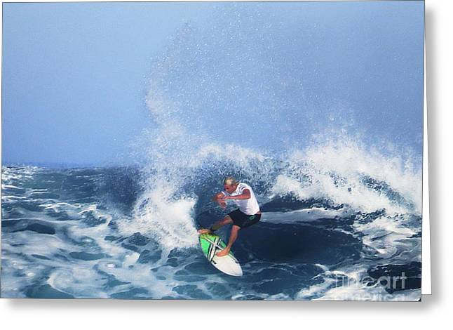 Surfing Photos Greeting Cards - Charles Martin Pro Surfer in Hawaii Greeting Card by Scott Cameron