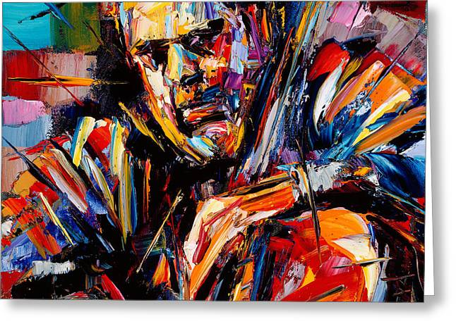 Stand Up Bass Greeting Cards - Charles Mingus Greeting Card by Debra Hurd