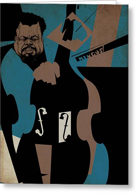 Charles Mingus Greeting Card by Thomas Seltzer