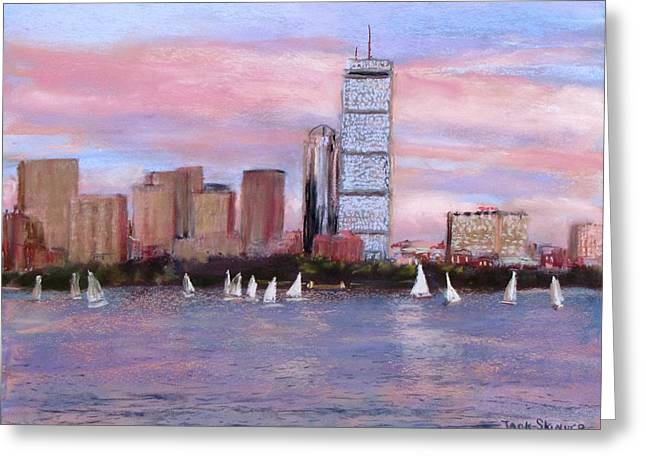Boston Pastels Greeting Cards - Charles River Boston Greeting Card by Jack Skinner