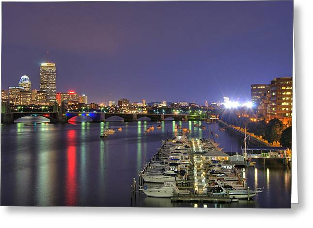 New England Marina Park Greeting Cards - Charles River Country Club Greeting Card by Joann Vitali