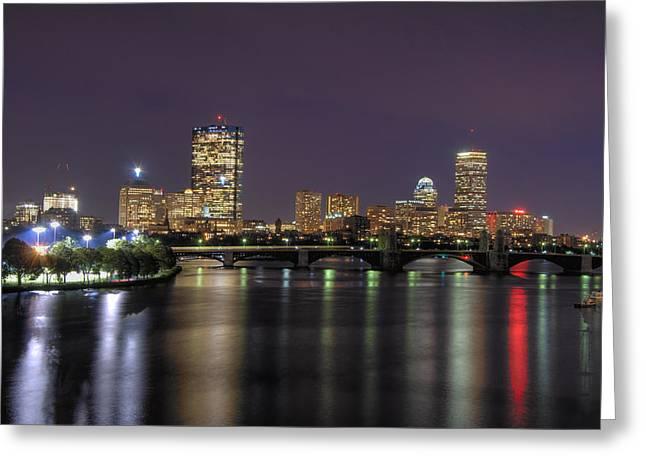 Boston Skyline Greeting Cards - Charles River Reflections - Boston Greeting Card by Joann Vitali