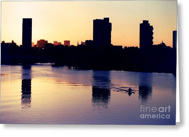 Charles River Rower at Dawn Greeting Card by Kenny Glotfelty