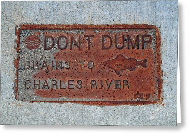 Engraving Greeting Cards - Charles River Signage Greeting Card by Barbara McDevitt