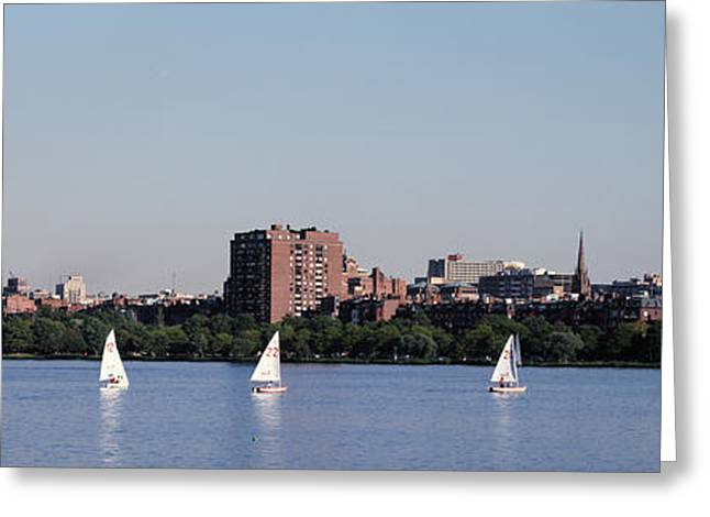 Charles River Skyline Boston Ma Greeting Card by Panoramic Images