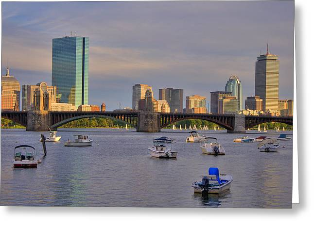 Charles River Greeting Cards - Charles River Sunset - Boston Greeting Card by Joann Vitali