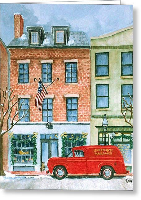 Hardware Paintings Greeting Cards - Charles Street Hardware Greeting Card by Rhonda Leonard